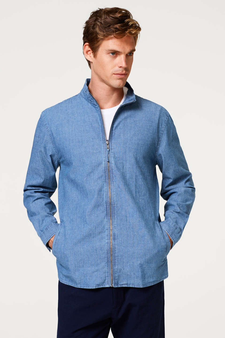 Esprit - Denim overshirt in 100% cotton