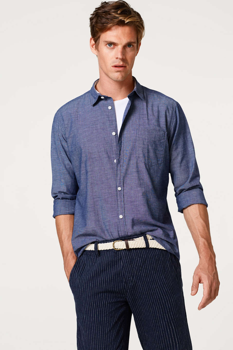 Esprit - Shirt with dimpled texture, 100% cotton