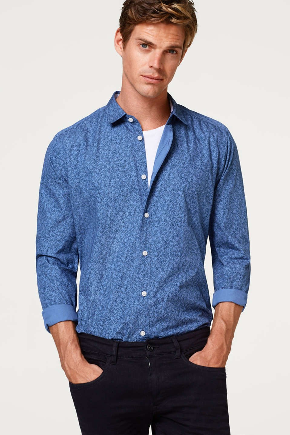 Esprit - Minimalist print shirt in 100% cotton