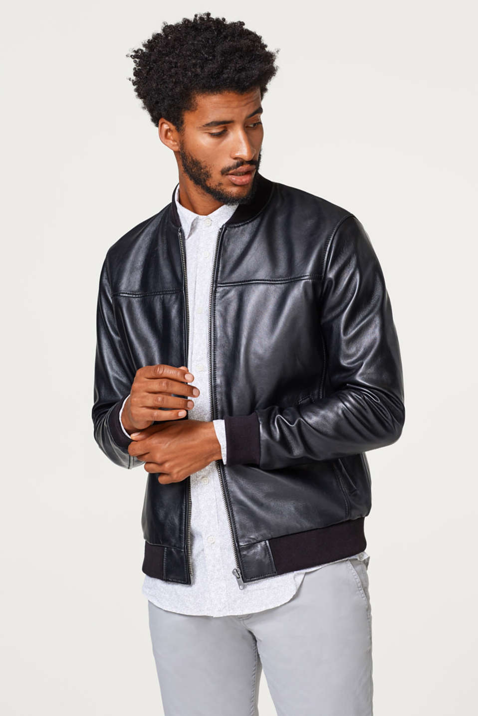 Esprit - Bomber jacket with knitted trims, in sheepskin