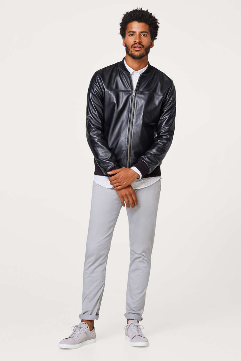 Bomber jacket with knitted trims, in sheepskin