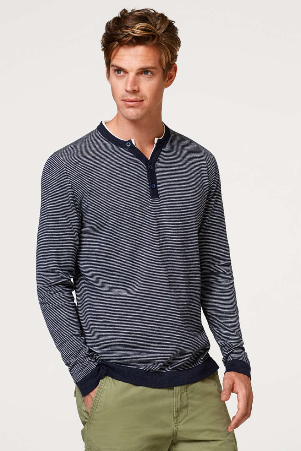 Esprit - Stribet Henley-sweater i 100 % bomuld