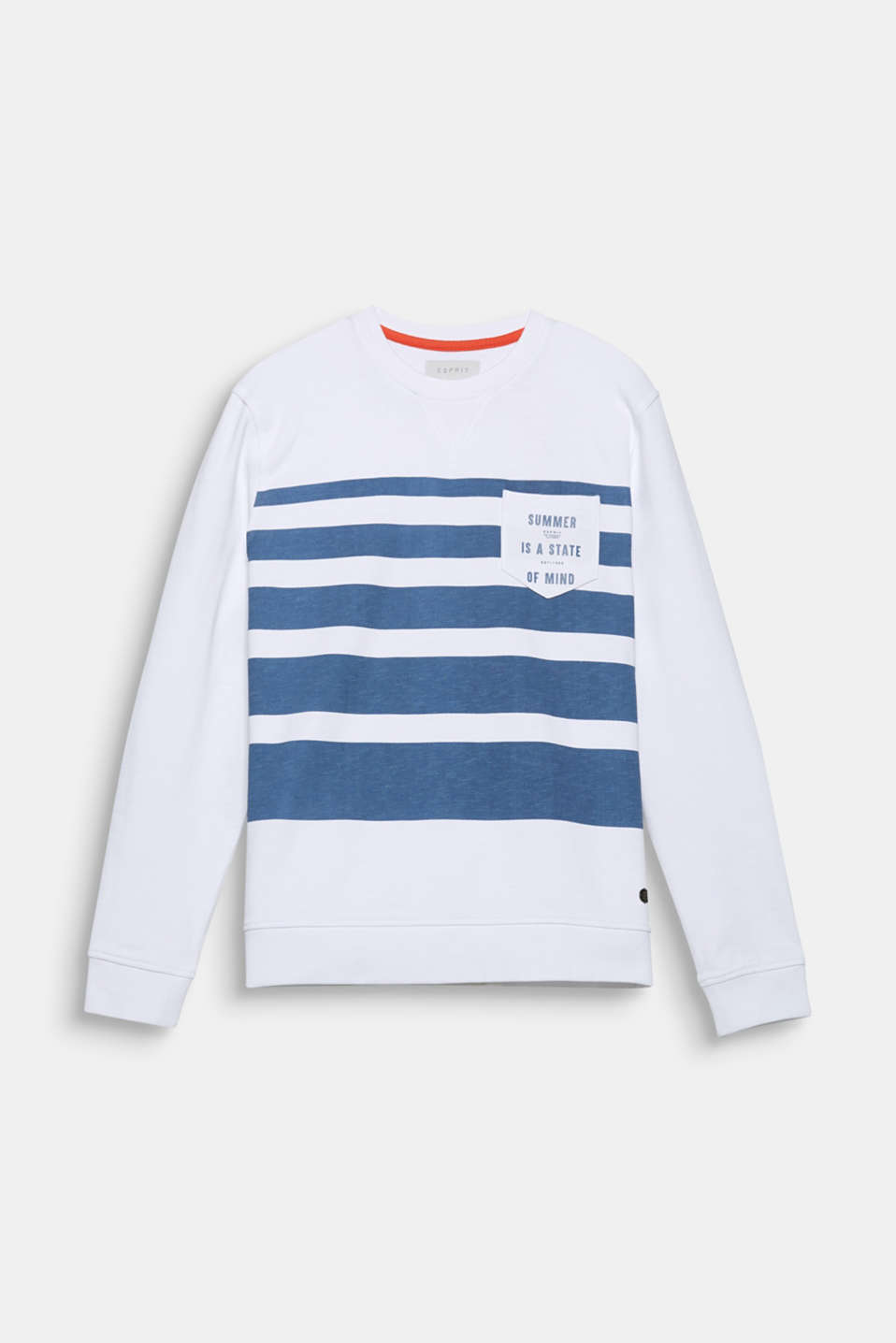 Summer is a state of mind! A print and a statement on this sweatshirt with a distinctive striped print and breast pocket.