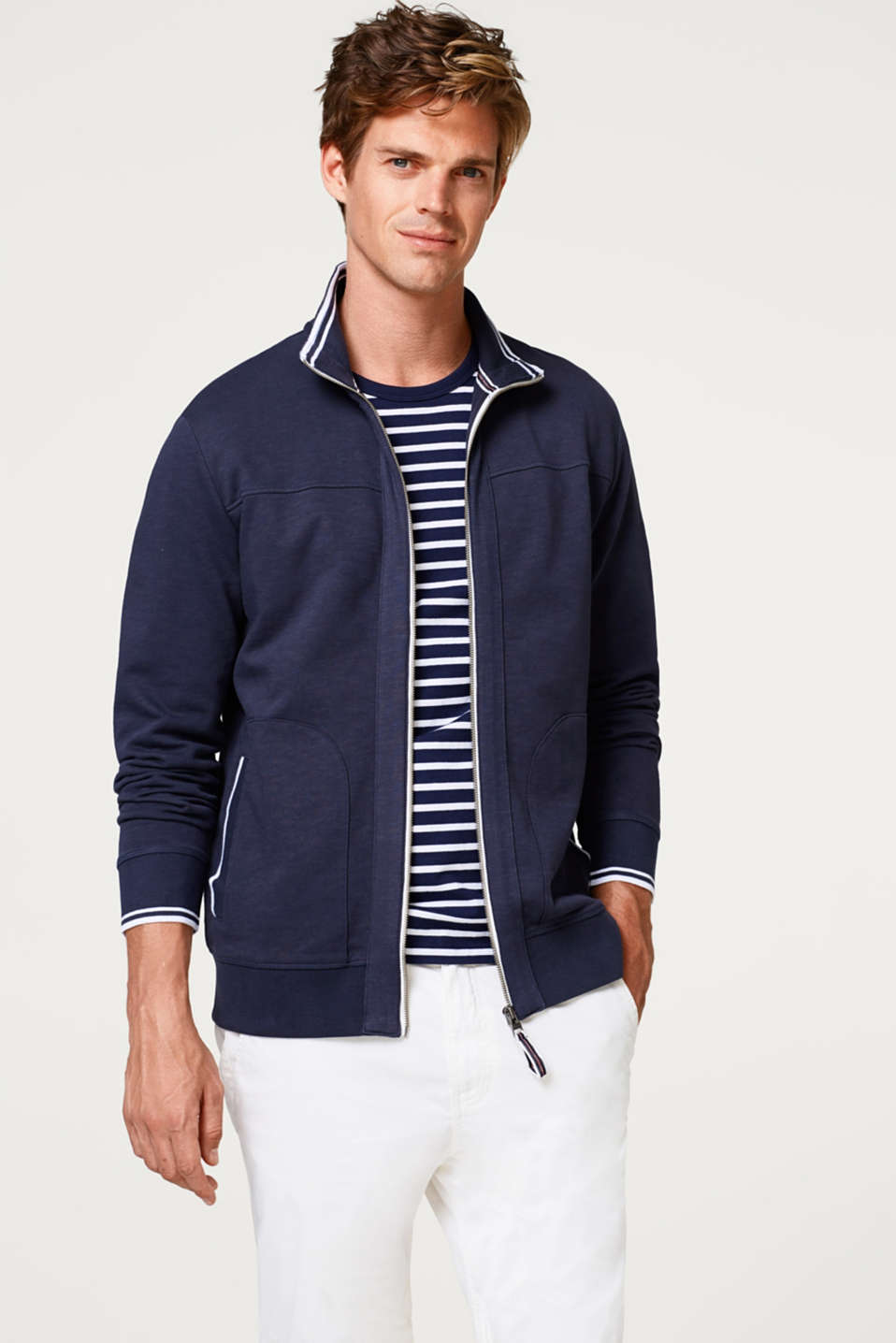 Esprit - Zip-up cardigan made of 100% cotton