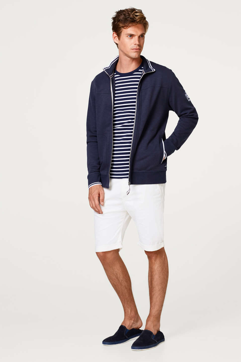 Zip-up cardigan made of 100% cotton