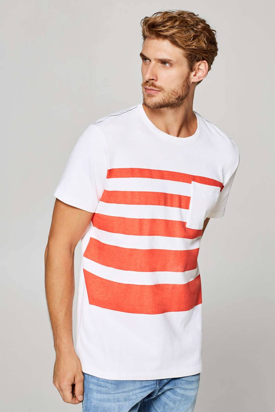 Esprit - Ribbed 100% cotton-jersey T-shirt with stripes