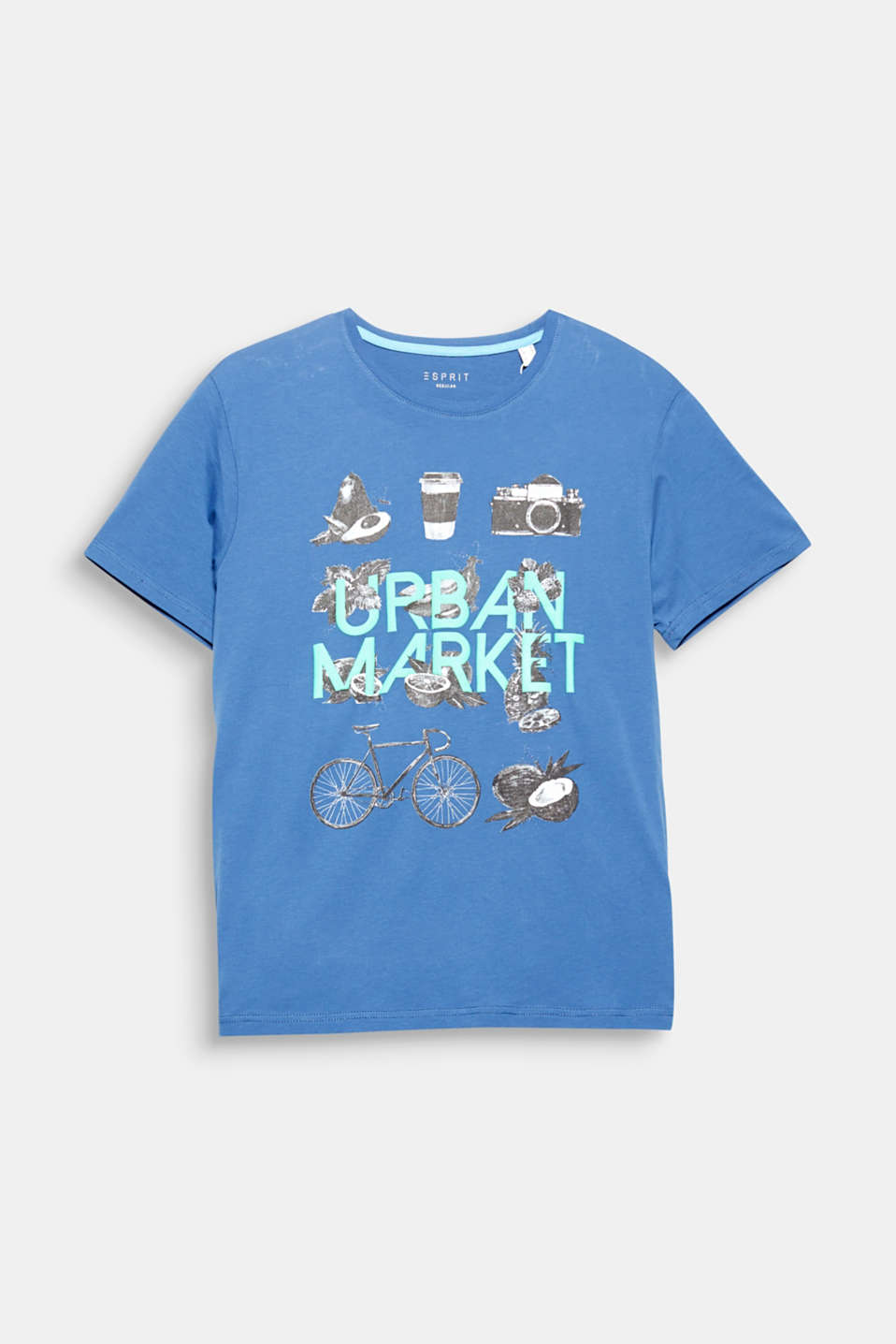 Urban market! Cool symbol prints and a vivid statement make this pure cotton T-shirt a statement in itself.