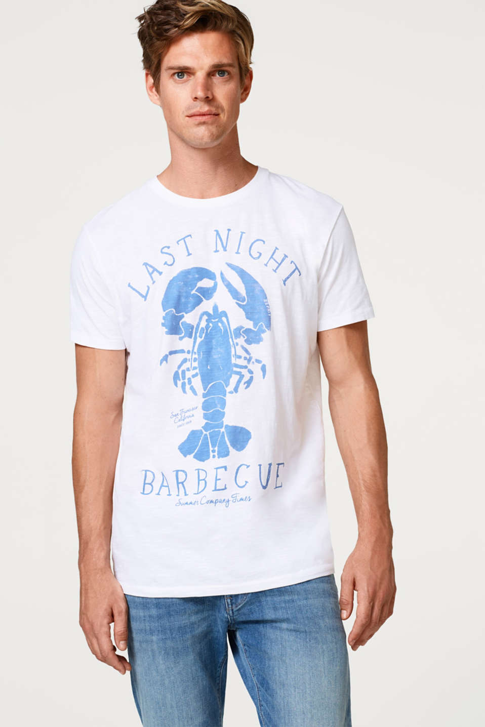 Esprit - Printed slub jersey T-shirt in 100% cotton