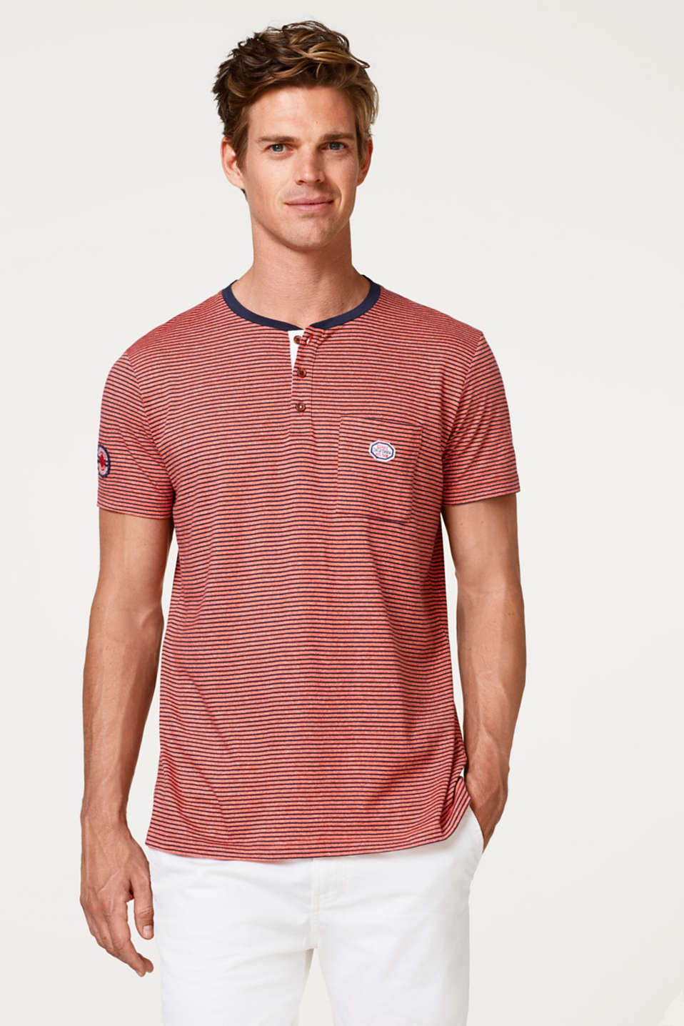 Esprit - Striped jersey Henley T-shirt
