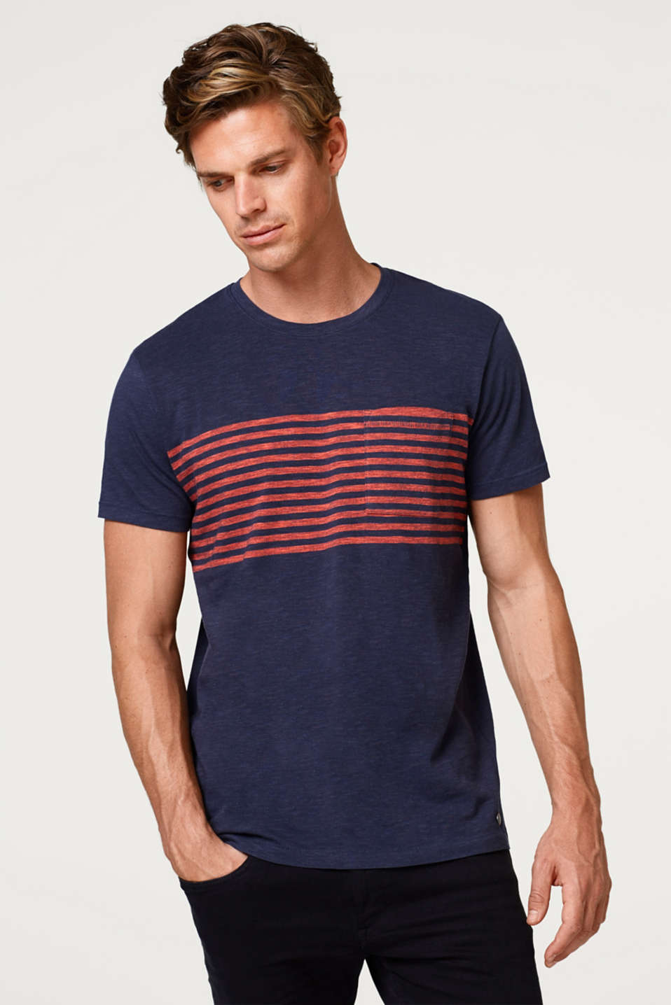 Esprit - Slub jersey T-shirt with stripes, 100% cotton