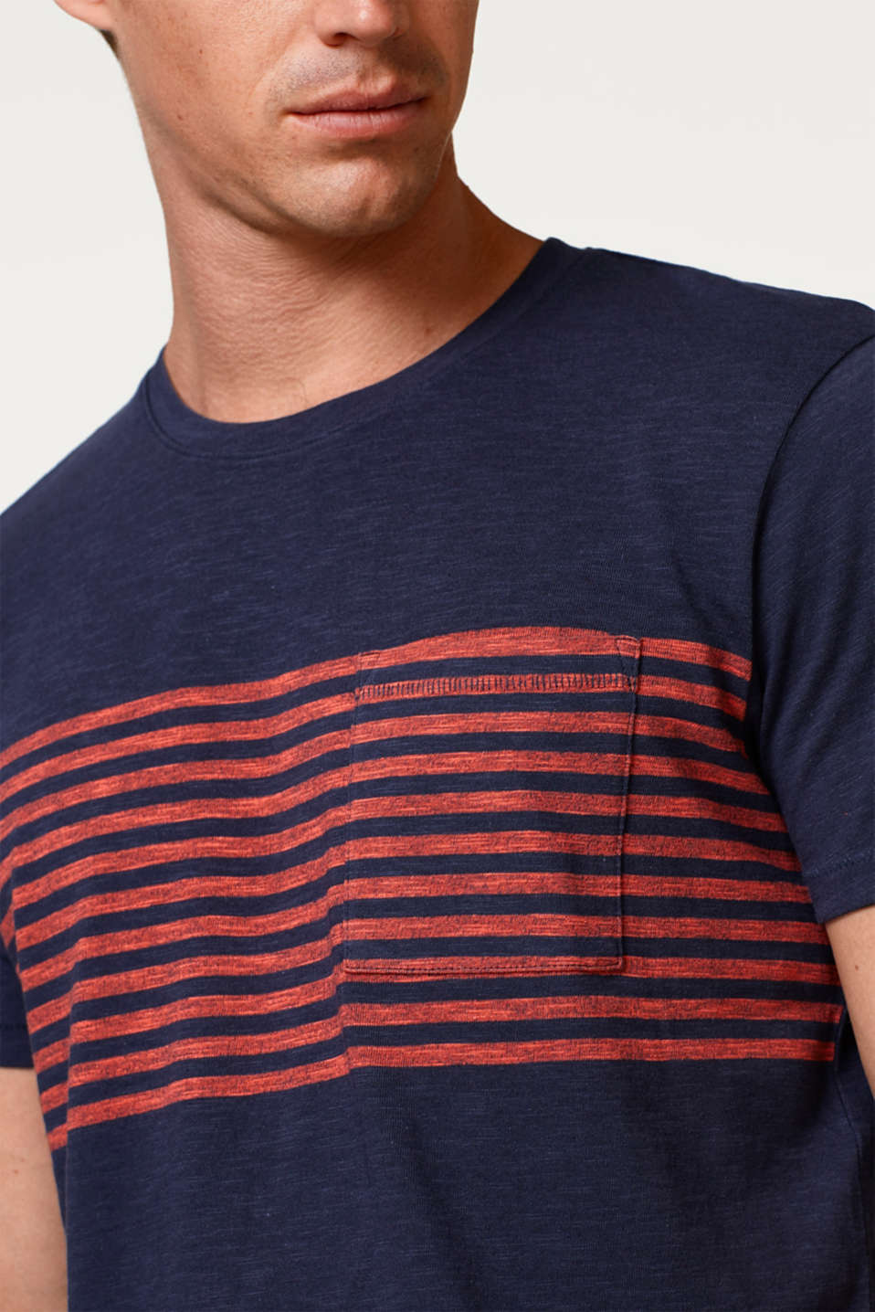 Slub jersey T-shirt with stripes, 100% cotton