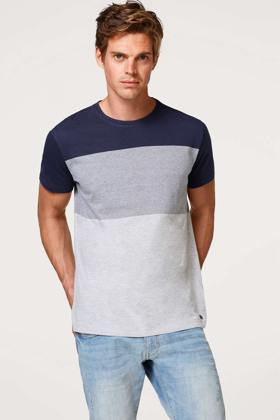 Esprit - Melange jersey T-shirt with block stripes