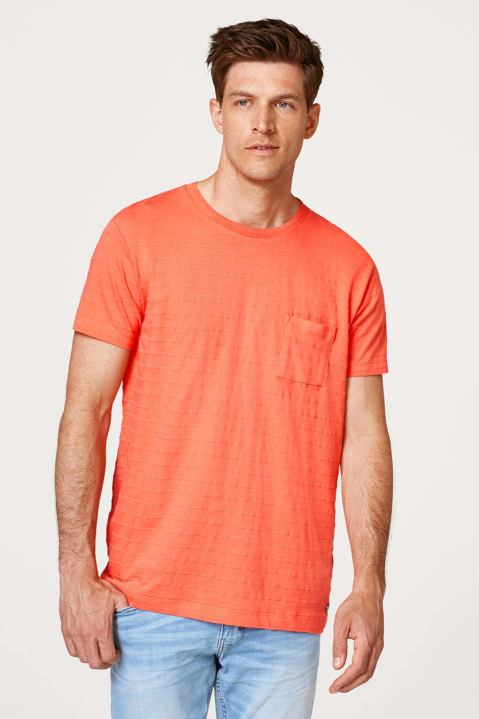 Esprit - 100% cotton-jersey tee with textured stripes