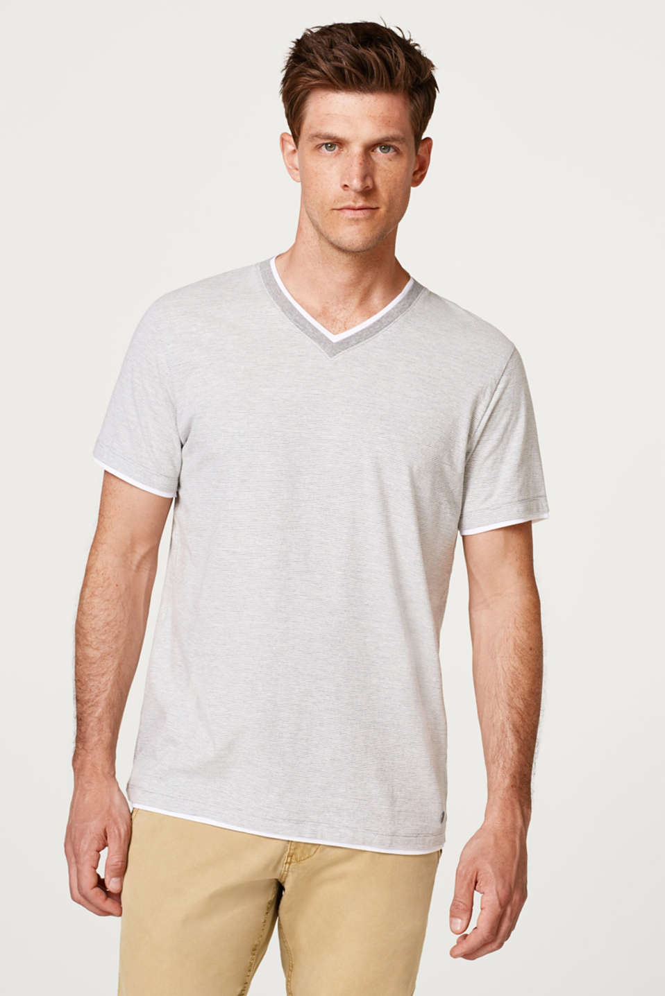 Esprit - Layered jersey T-shirt with stripes