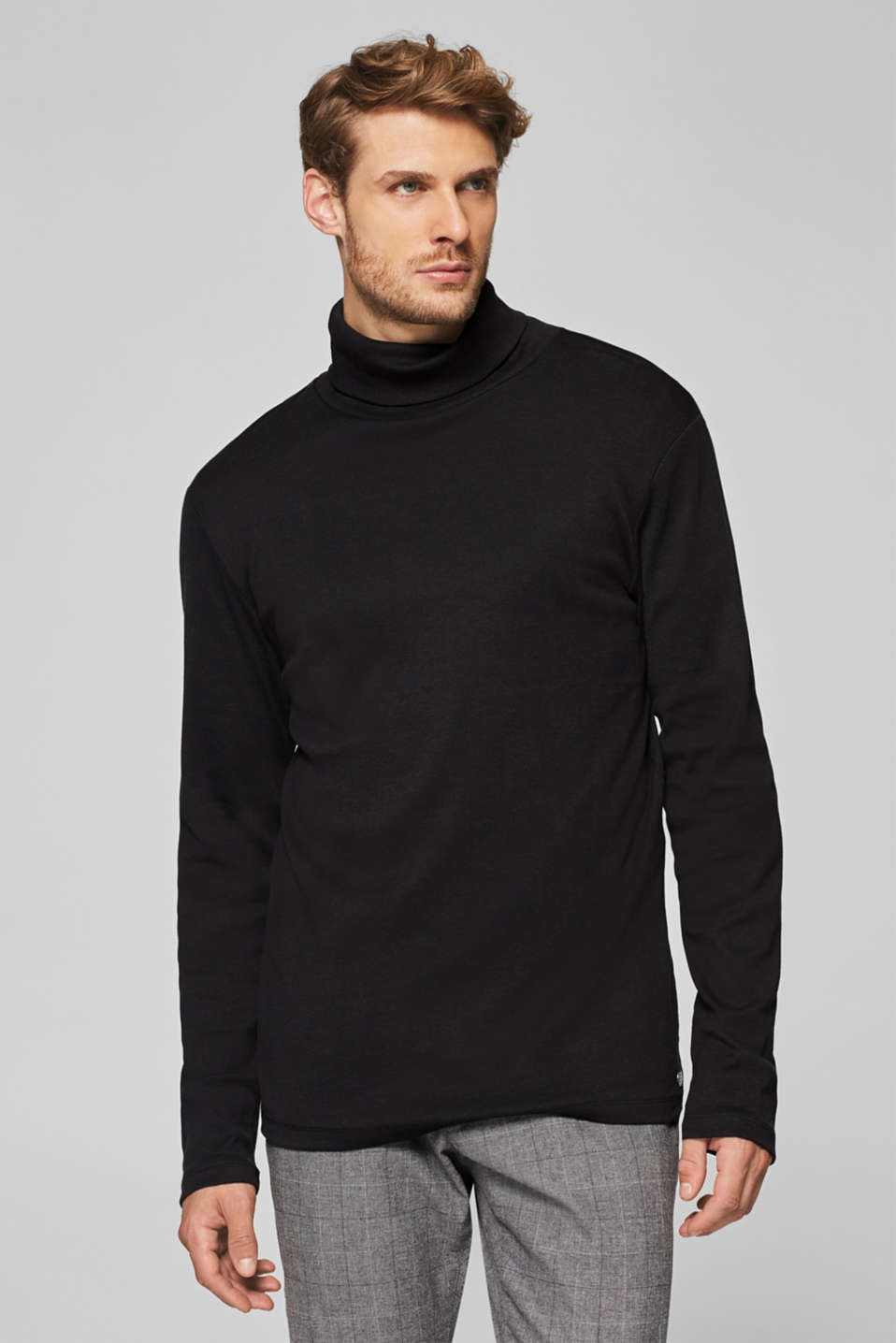 Esprit - Jersey long sleeve top with a polo neck, 100% cotton
