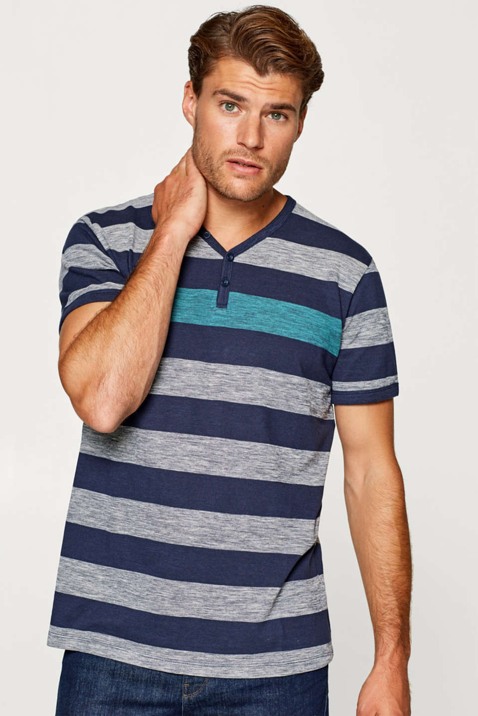 Esprit - Henley top in jersey with sporty stripes