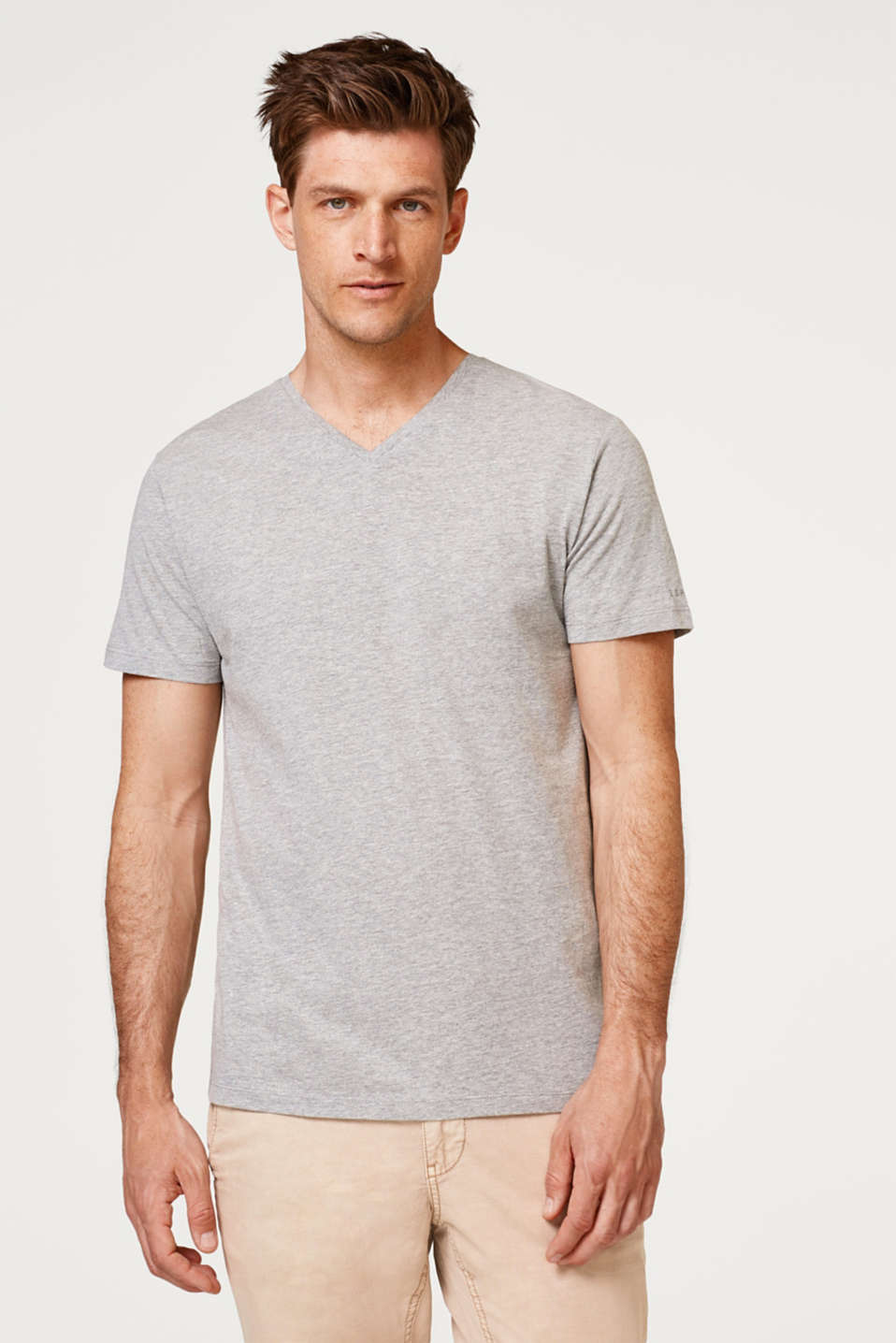 Esprit - Double pack of jersey T-shirts with a V-neckline