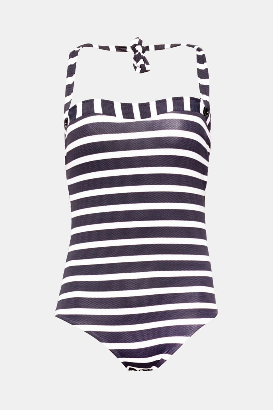VALENCIA collection - sporty stripes and decorative eyelets give this bandeau swimsuit with halterneck ties its stylish nautical look!