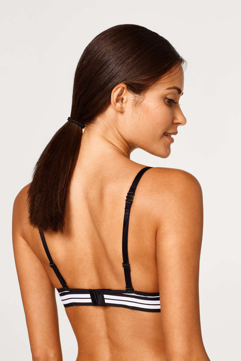Padded underwire bra with pinstripes