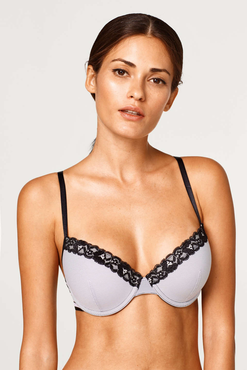 Esprit - Padded bra with pinstripes and lace