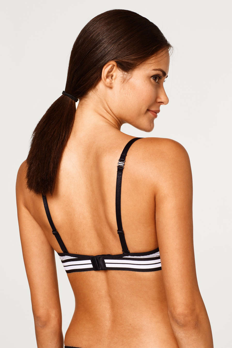 Padded bra with pinstripes and lace
