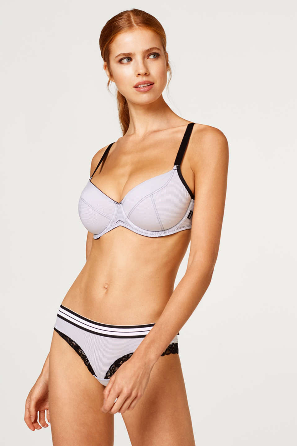 Esprit - unpadded underwire bra for large cup sizes with stripes