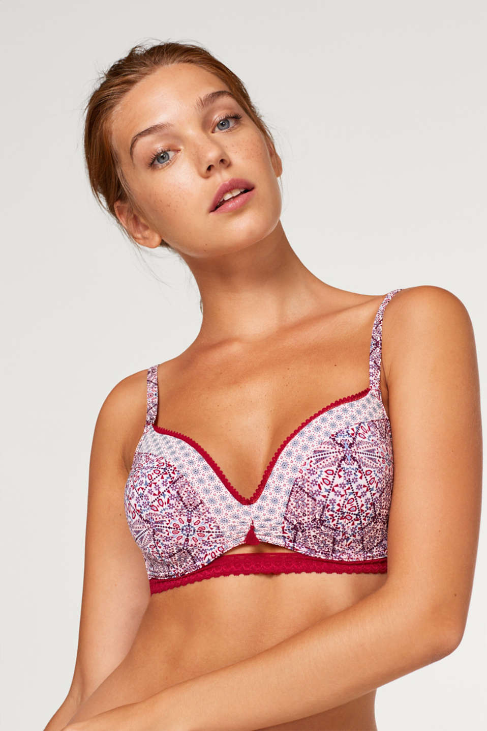 Esprit - Non-wired, padded bra in a mixed pattern