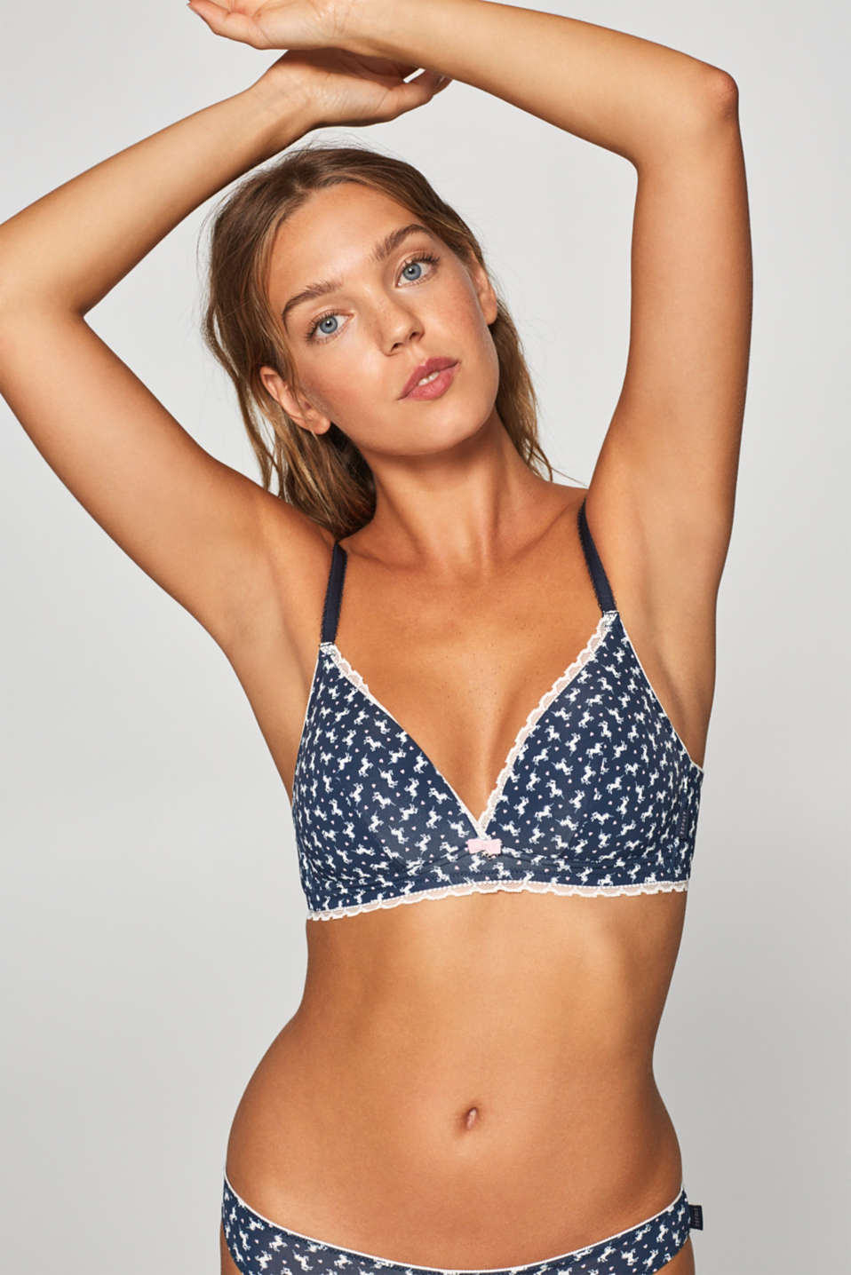Esprit - Padded non-wired bra with a unicorn print