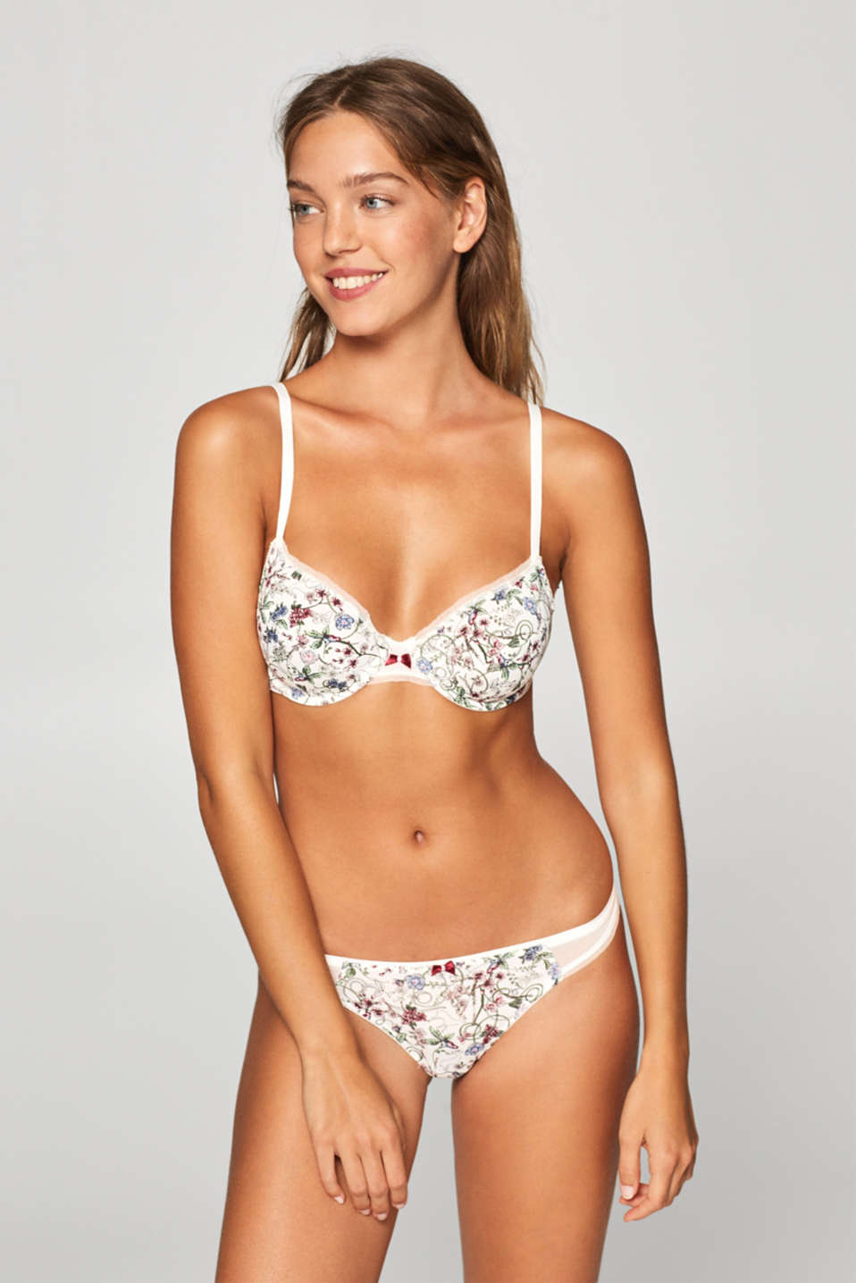 Esprit - Unpadded underwire bra with a floral print