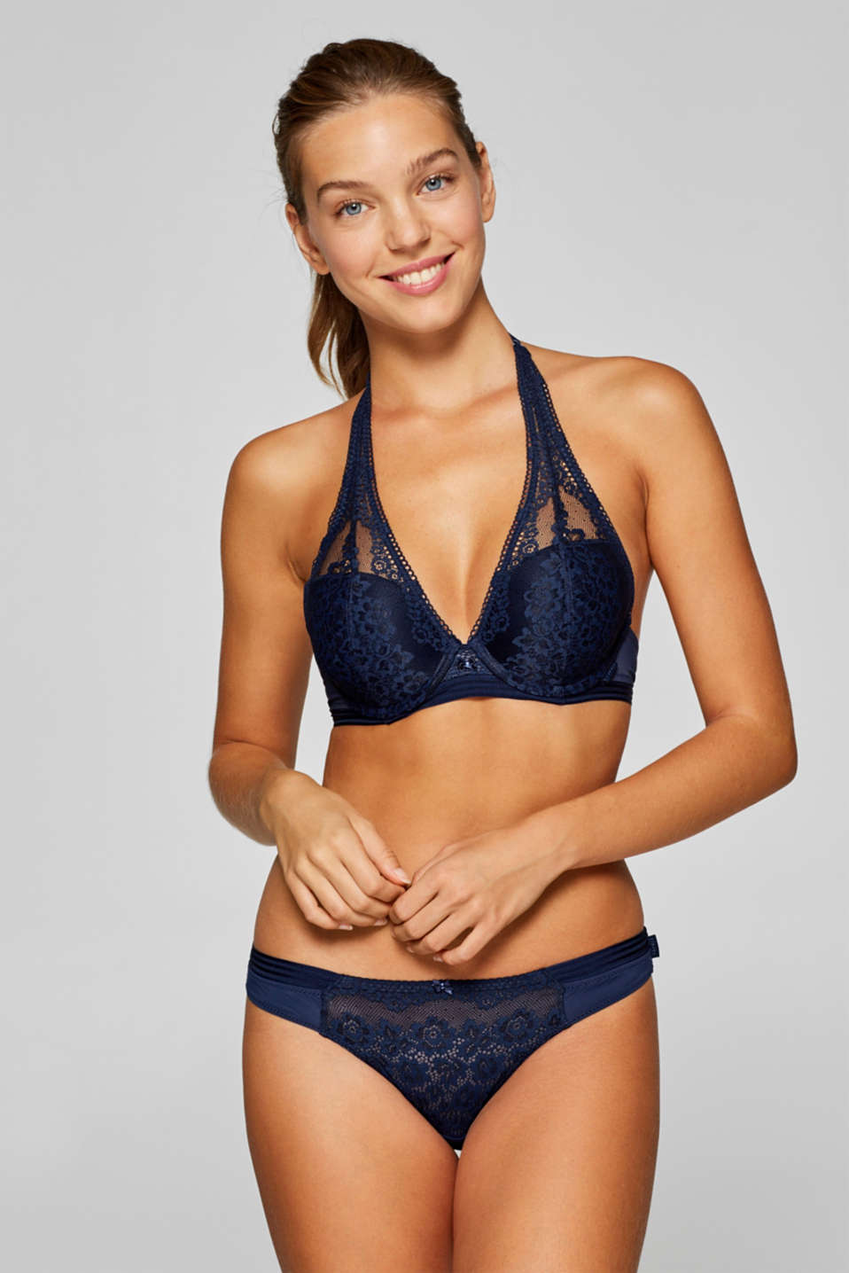 Esprit - Push-up bra with lace and halterneck straps