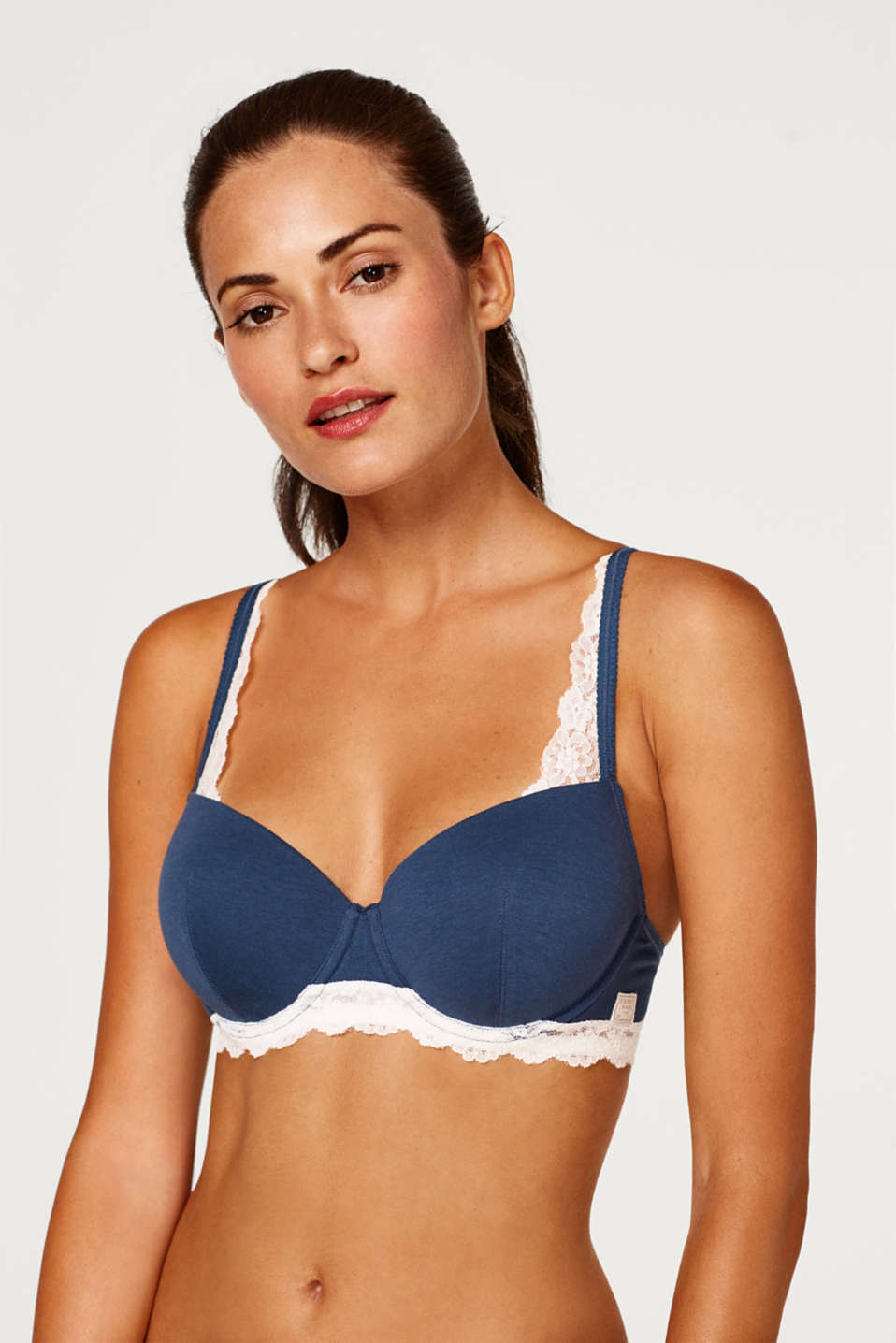 Esprit - Padded underwire bra made of jersey/lace