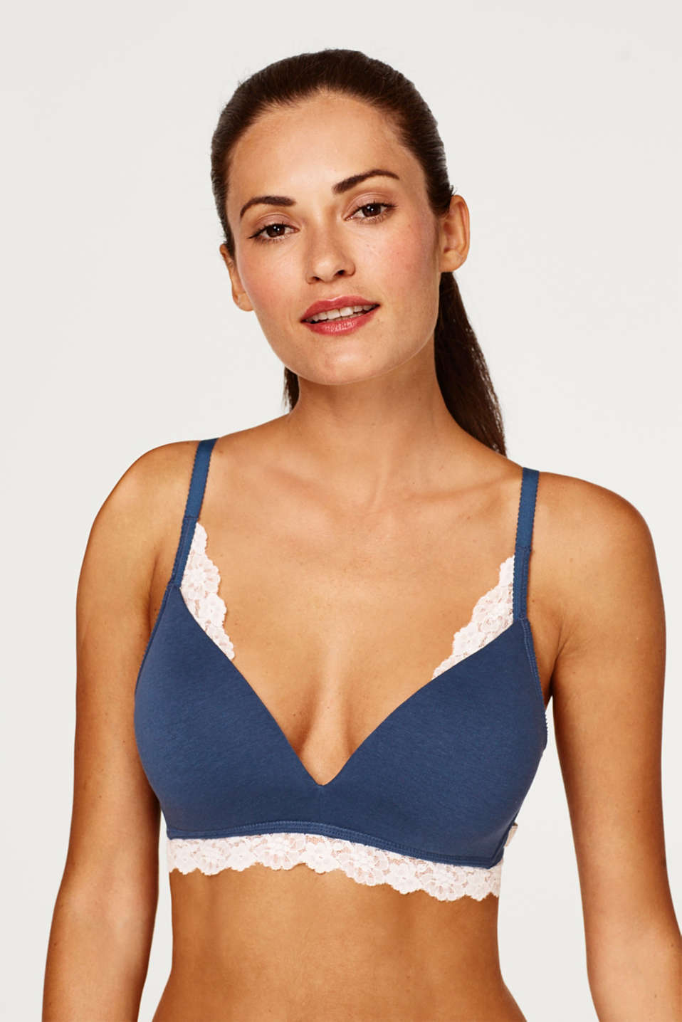Esprit - Padded, non-wired bra made of jersey/lace