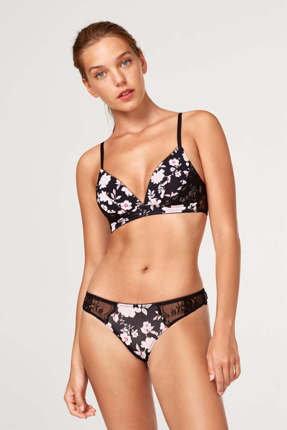 Esprit - Hipster thong with print and lace