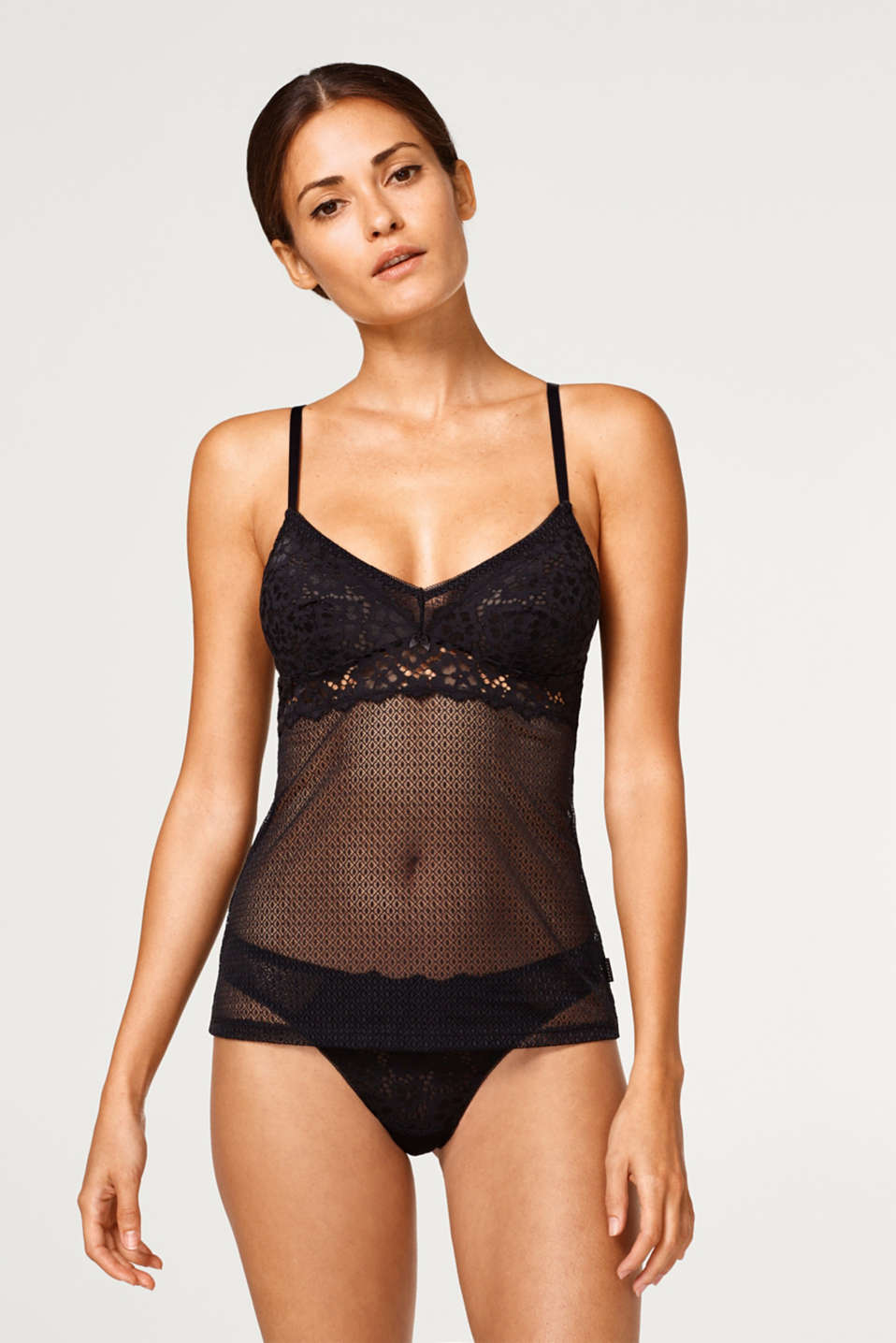 Esprit - Camisole with floral lace