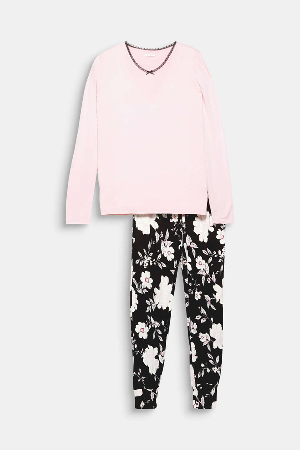 A modern floral print paired with a fine lace trim: 100% cotton pyjamas.