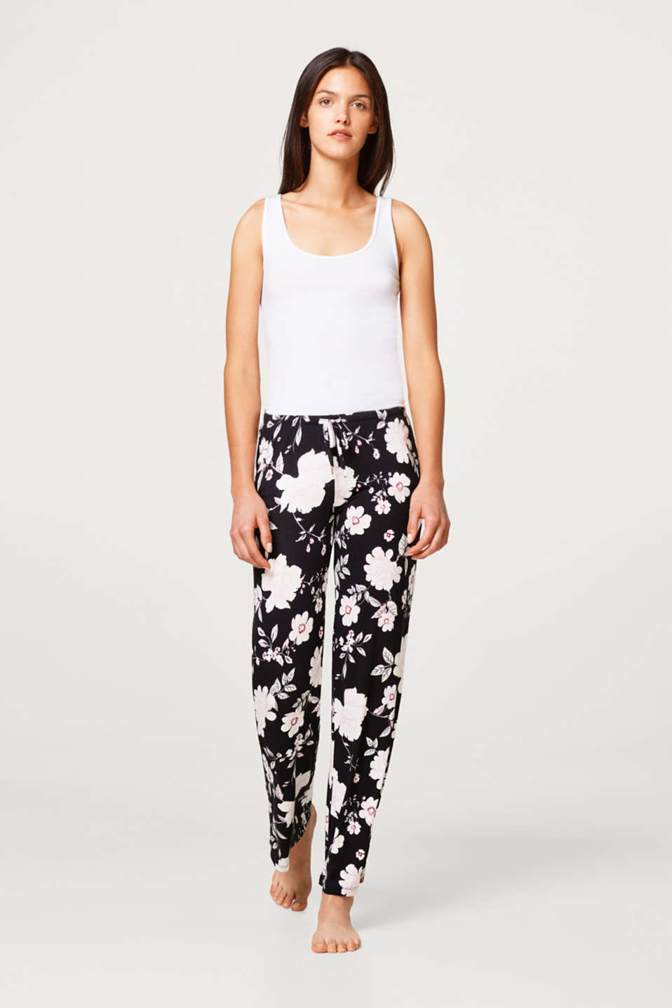 Esprit - Stretch jersey pyjama bottoms with a floral print