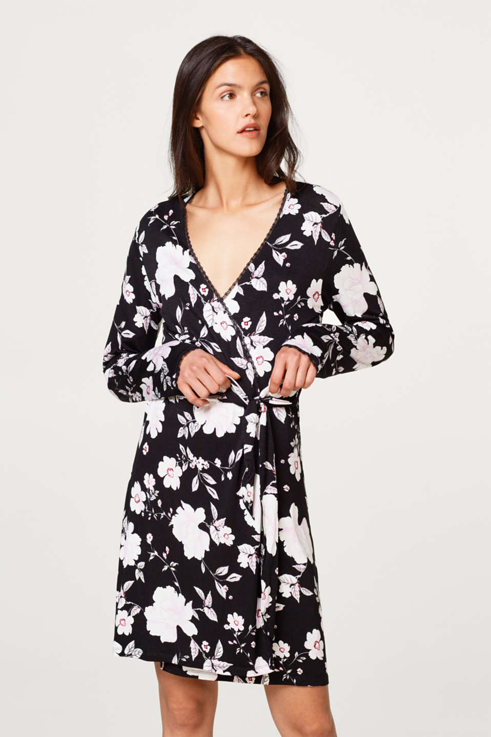 Stretch jersey kimono with a floral print