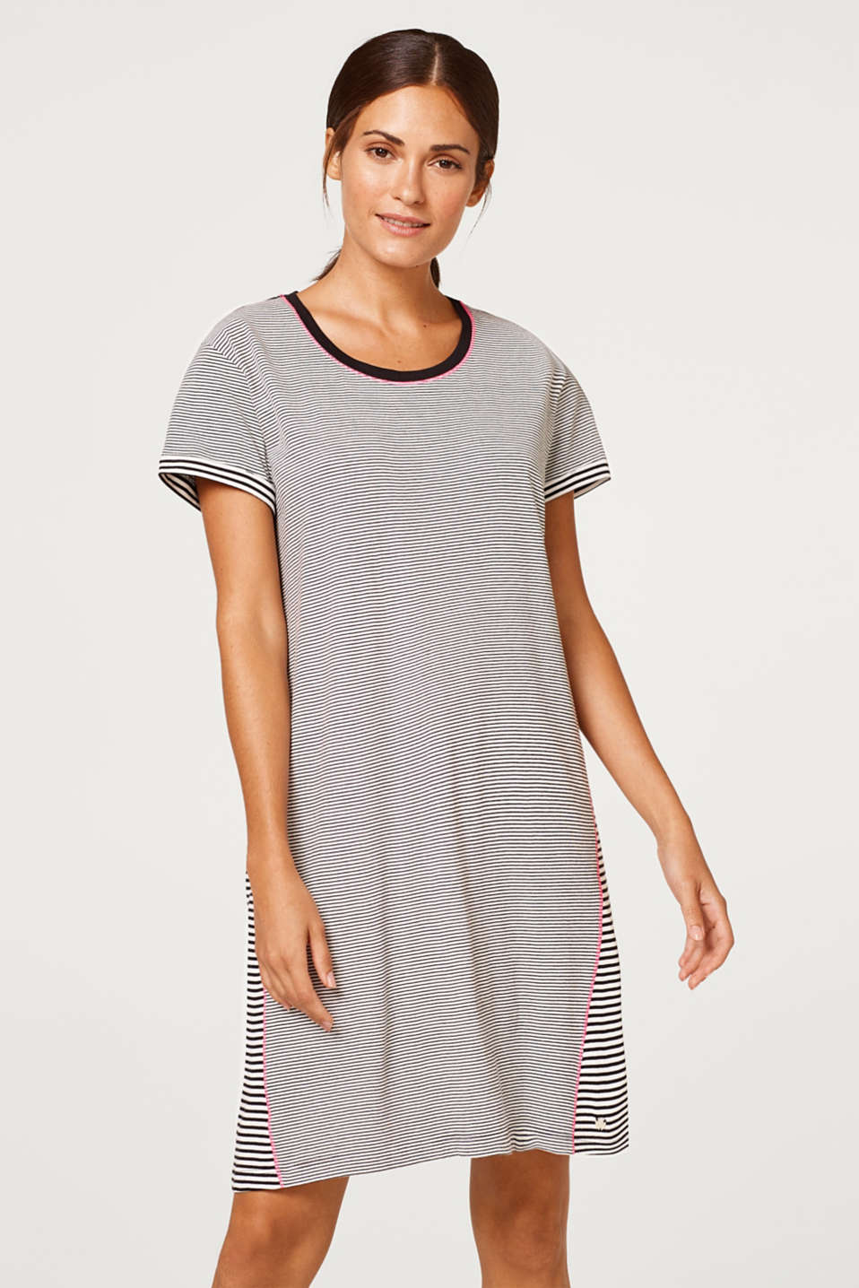 Esprit - Nightshirt with stripes, 100% cotton