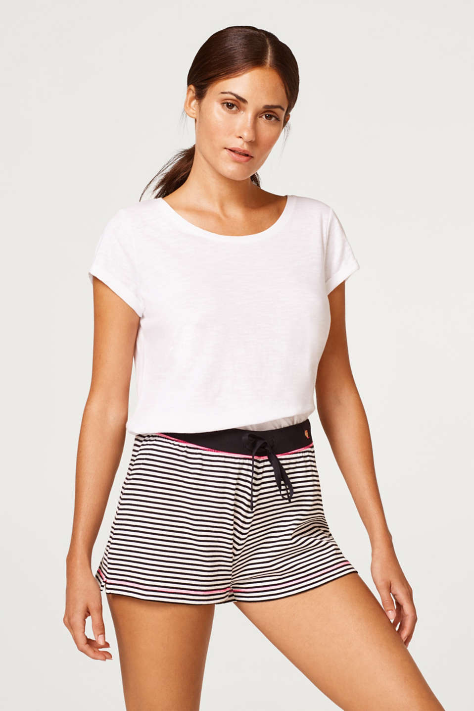 Esprit - Jersey shorts with stripes, 100% cotton