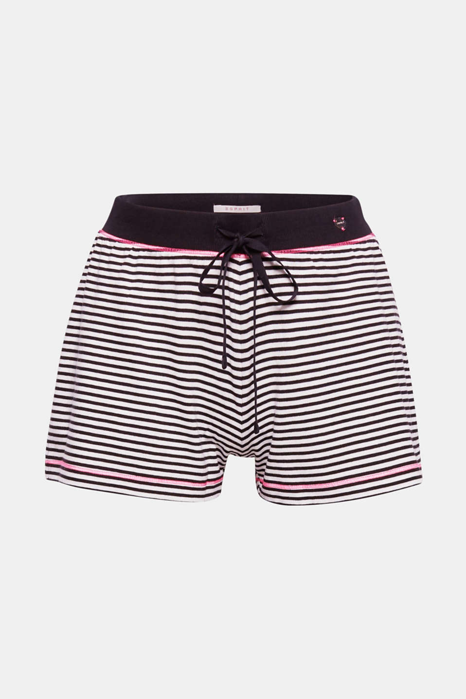 Narrow stripes and bright flatlock seams make these jersey shorts a soft favourite loungewear piece.