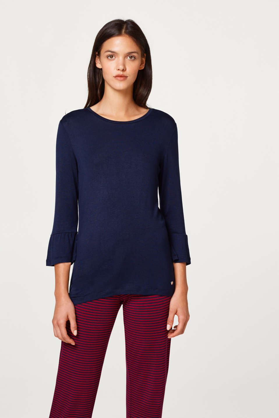 Stretch jersey top with flounce sleeves