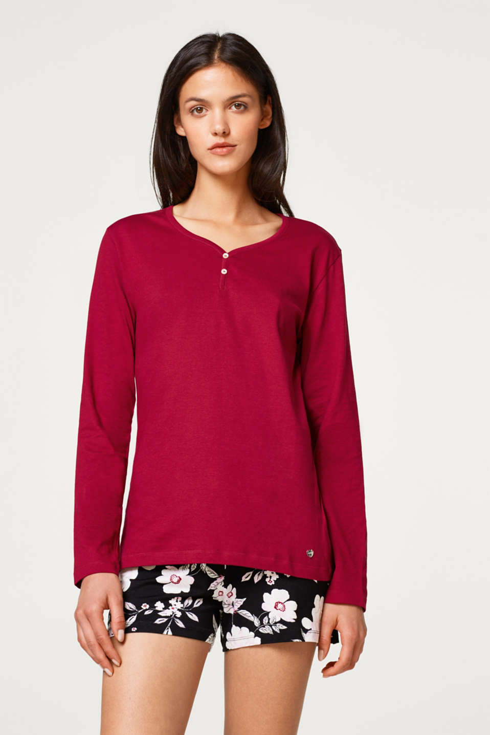 Esprit - Long sleeve top with a Henley neckline, 100% cotton