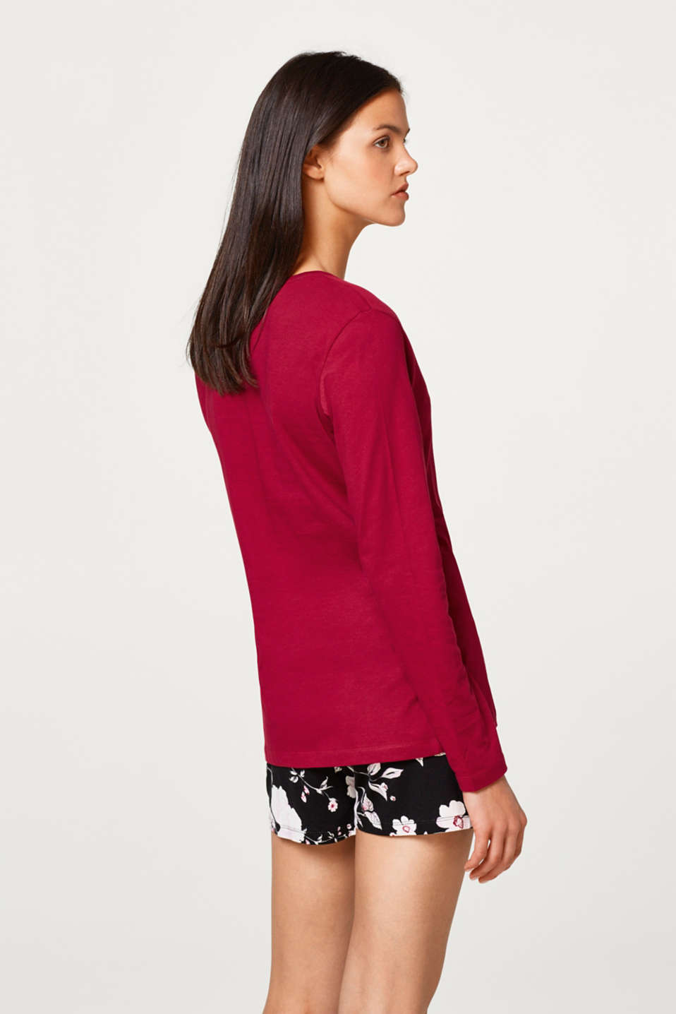 Long sleeve top with a Henley neckline, 100% cotton
