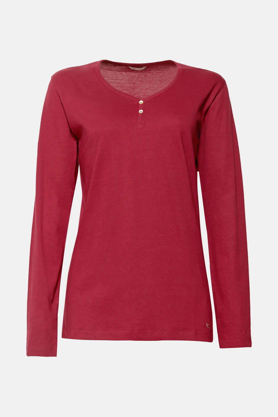 Super smooth and wonderfully comfortable! This long sleeve top made from soft cotton features a Henley neckline and offers exceptional comfort for sleeping and relaxing.