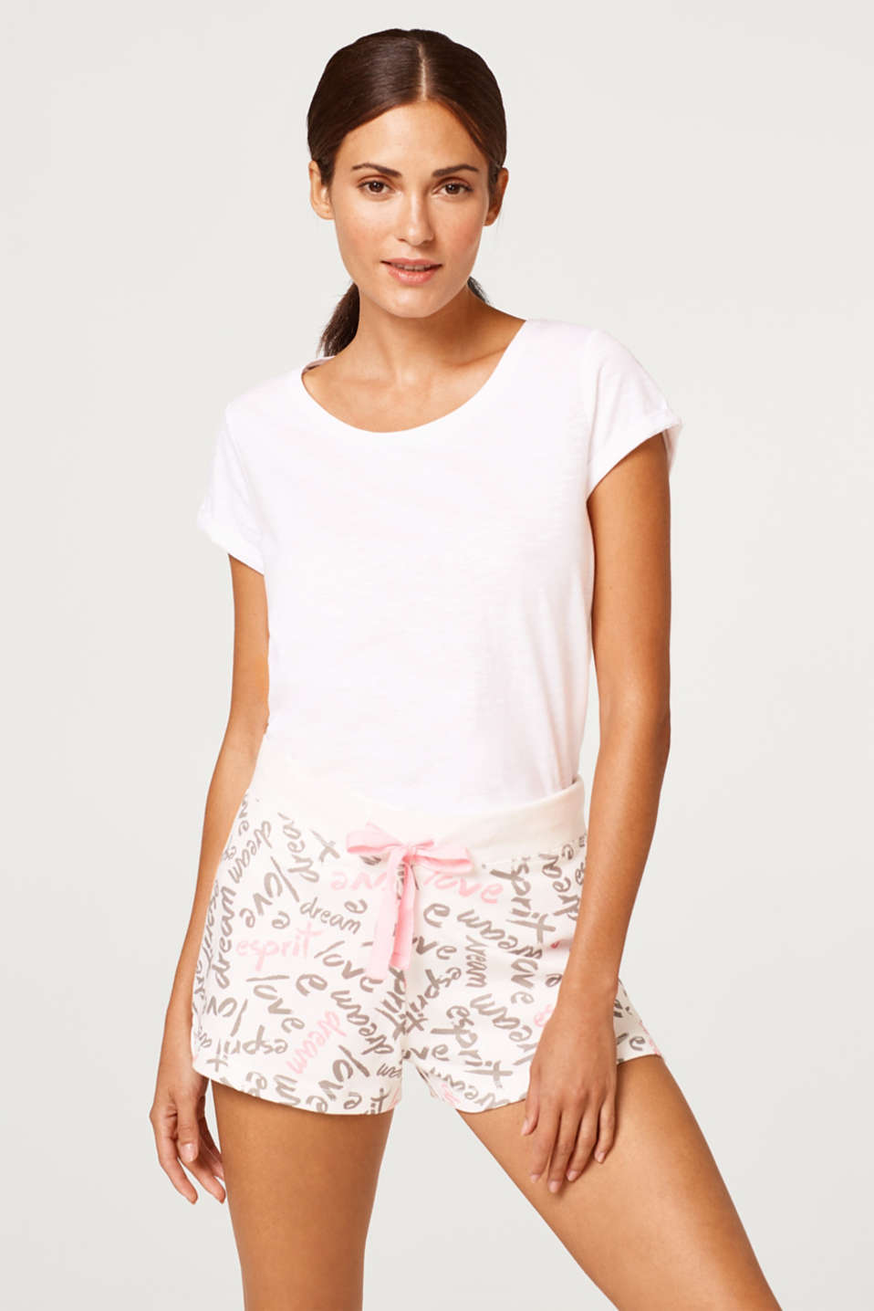 Esprit - Jersey short met all-over print, 100% katoen