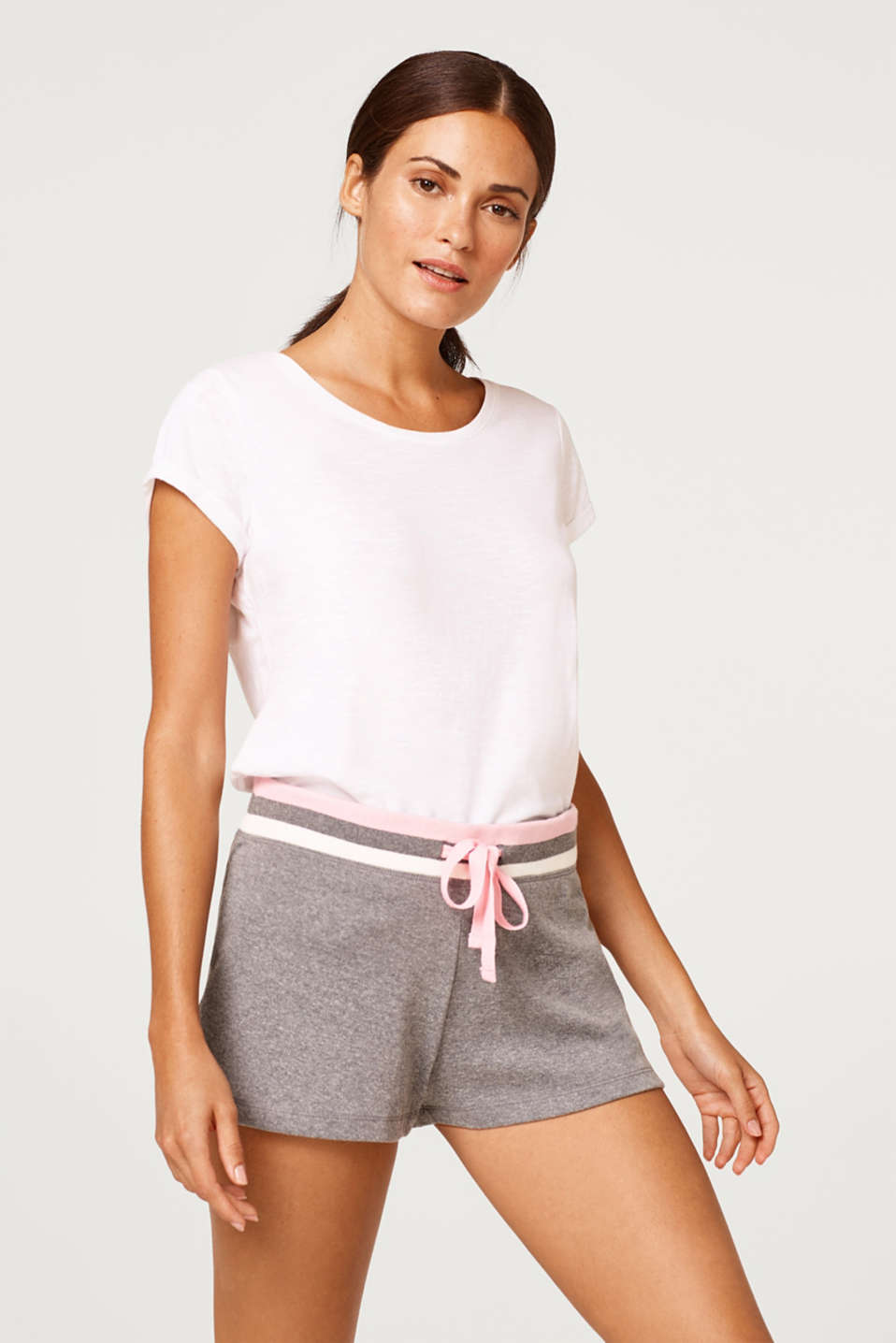 Esprit - Tracksuit shorts with a striped waistband