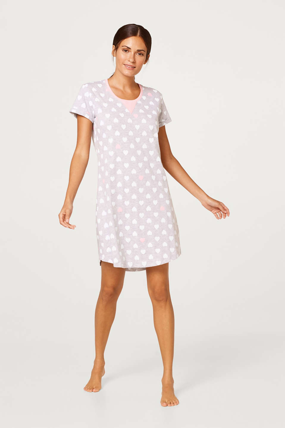Esprit - Melange jersey nightshirt with a heart print