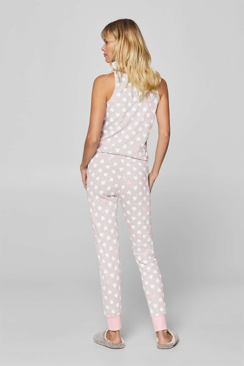 Mottled jersey jumpsuit with a heart print