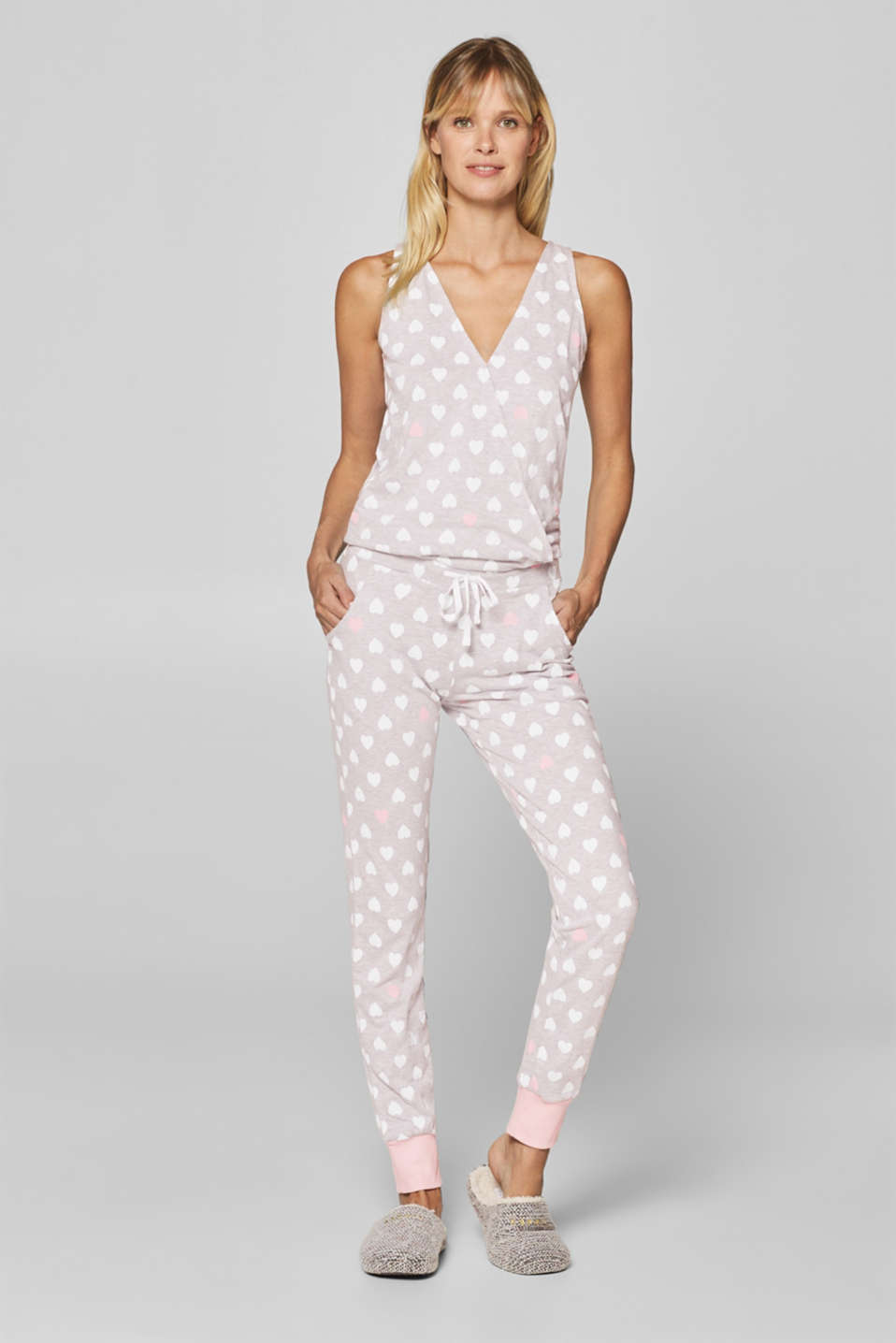 Esprit - Mottled jersey jumpsuit with a heart print