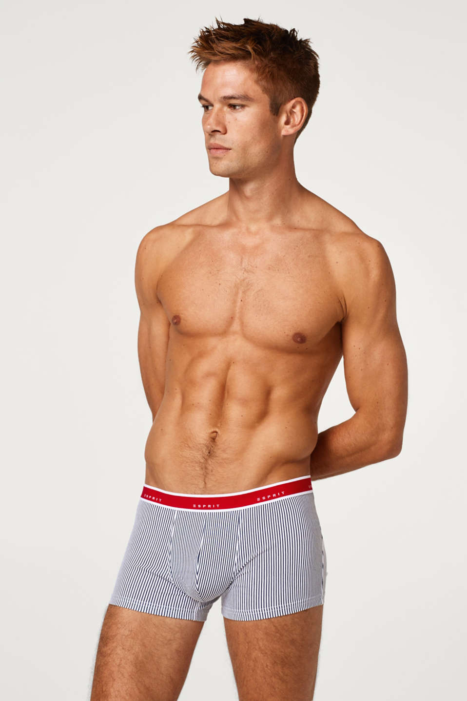 Esprit - Hipster shorts with a logo waistband, made of blended cotton